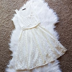 Cream Lace Ruched Dress
